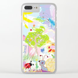 My happy world Doodle for children room Nursery home decor Clear iPhone Case