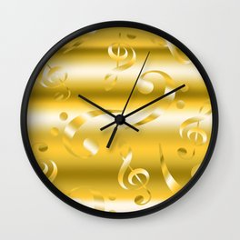 Faux Gold Metallic Treble and Bass Musical Notation Wall Clock