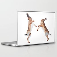 boxing Laptop & iPad Skins featuring Boxing Hares by ByKellyAttenborough