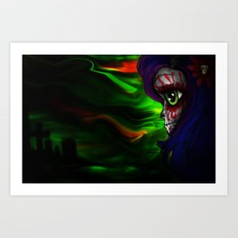 Mizz Skully in color  Art Print