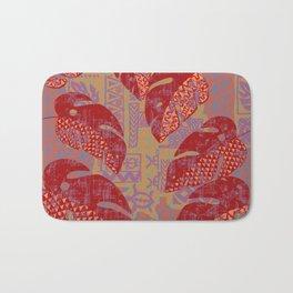 Hawaiian Lava Leaves Tapa Print Bath Mat