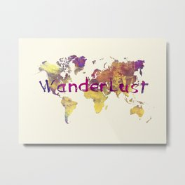 world map 90 wanderlust Metal Print