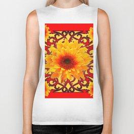 Red Colored Golden Sunflowers Yellow Pattern Biker Tank