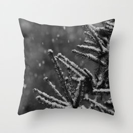 The Evergreen with Snow (Black and White) Throw Pillow