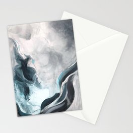 Siren Song Teal Blue Gray Silver Painting Stationery Cards