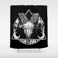 goat Shower Curtains featuring Goat by alesaenzart