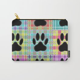 Colorful Quilt Dog Paw Print Drawing Carry-All Pouch
