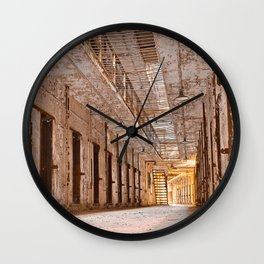 Glowing Prison Corridor Wall Clock
