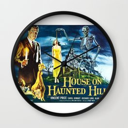 House on Haunted Hill, vintage horror movie poster Wall Clock