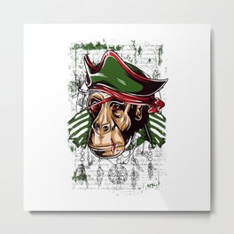 Pirate Monkey Metal Print