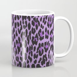 Animal Print, Spotted Leopard - Purple Black Coffee Mug