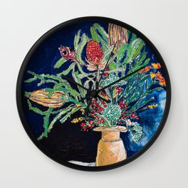 Yellow and Red Australian Wildflower Bouquet in Pottery Vase on Navy, Original Still Life Painting Wall Clock