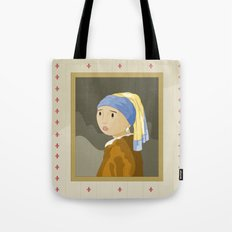 Girl with pearl by Vermeer  Tote Bag