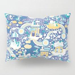 The secret map of Unicorns Village II // indigo blue background Pillow Sham