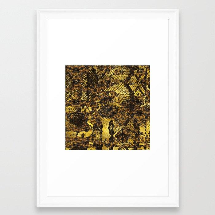 Faux Gold Snake Skin Texture On Dark Marble Framed Art Print By K9printart Society6