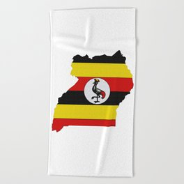 Uganda Map with Ugandan Flag Beach Towel