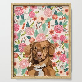 Nova Scotia Duck Tolling Retriever floral pet portrait wall art and gifts for dog breed lovers Serving Tray