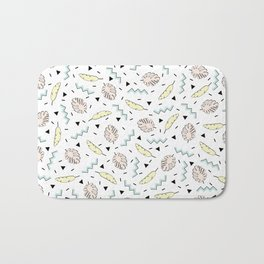 Back to the Tropical 80's Memphis Pastel Mint Green, Pink, Yellow Pattern Bath Mat