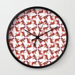 Graphic Elk 04 Swedish Dala Pair Multiples Wall Clock