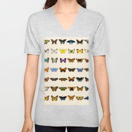 Watercolour Butterfly Chart Unisex V-Neck