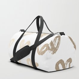 Luxe Gold Hearts on White Duffle Bag