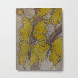 Yellow Abstract Butterflies Metal Print