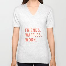 PARKS AND REC FRIENDS WAFFLES WORK Unisex V-Neck