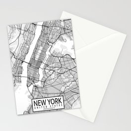 New York City Map of United States Stationery Cards