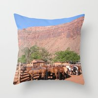 utah Throw Pillows featuring Horses Utah by BACK to THE ROOTS