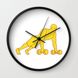 Fitness Athlete Push Up Dumbbell Drawing Wall Clock