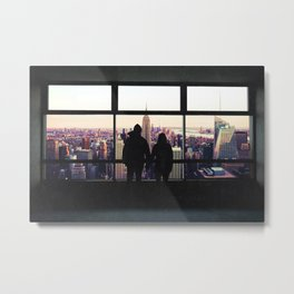 New York City Views-Couple and the Skyline Metal Print