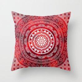 'Scarlet Destiny' Red & White Flower Of Life Boho Mandala Design Throw Pillow