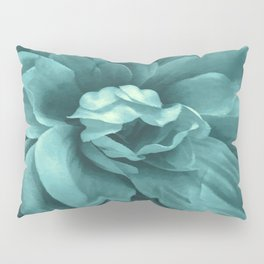 Soft Teal Flower Pillow Sham