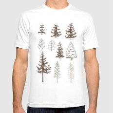 Pines and Spruces White Mens Fitted Tee MEDIUM
