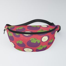 Tropical mangosteen fruit pattern on the coral background Fanny Pack