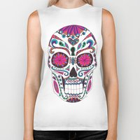 sugar skull Biker Tanks featuring Sugar Skull by Laura Maxwell