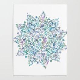 Mermaid Dreams Mandala on White Poster