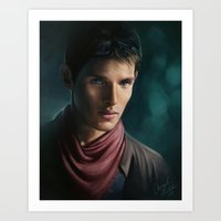 merlin Art Prints featuring Merlin by Angela Taratuta