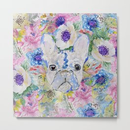 Abstract French bulldog floral watercolor paint Metal Print