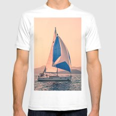 Yacht racing MEDIUM White Mens Fitted Tee