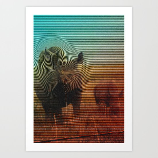 Abstract Rhino Art Print