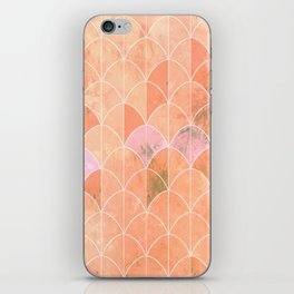 Mermaid scales. Peach and pink watercolors. iPhone Skin
