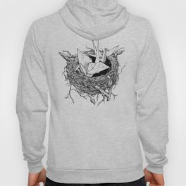birds made of paper in a nest Hoody