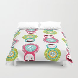 dolls matryoshka on white background, pink and blue colors Duvet Cover