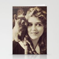 thundercats Stationery Cards featuring Mary Pickford - Vintage Lady with kitten by Augustinet