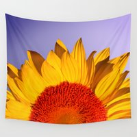 sunflowers Wall Tapestries featuring sunflowers by mark ashkenazi