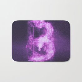 Bitcoin sign. Bitcoin Symbol. Crypto currency symbol. Monetary currency symbol. Abstract night sky b Bath Mat