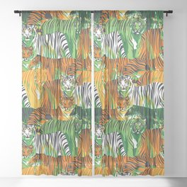 Graphic seamless pattern of standing and walking tigers. Sheer Curtain