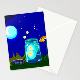 A Jar of Fireflies at Night Stationery Cards