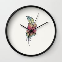 feather Wall Clocks featuring Feather by Juste Pixx Designs